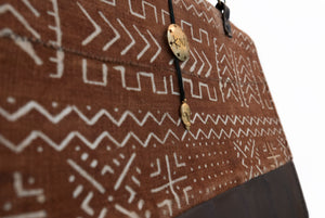 Mudcloth and Leather Large Tote