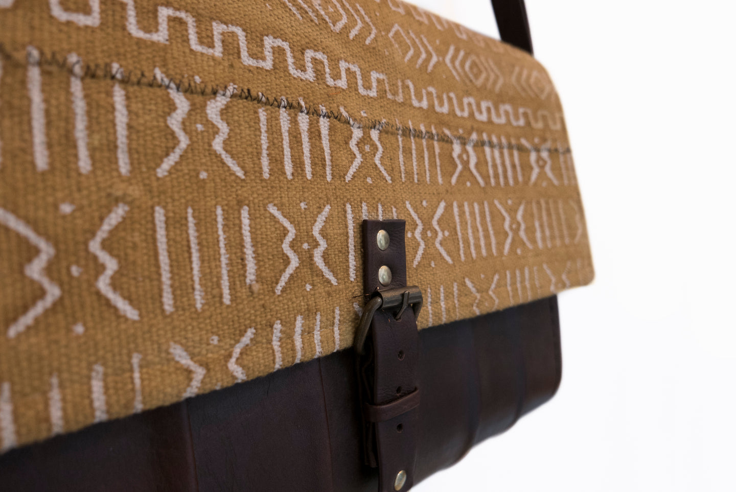 Mud Cloth Leather Messenger Bag