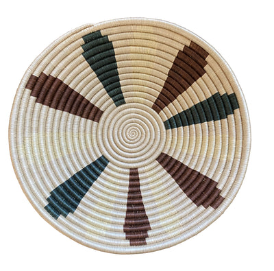 Rwandan Basket - Dark Green and Maroon