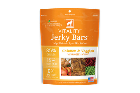 Vitality Jerky Bars Chicken & Veggies Dog Treats
