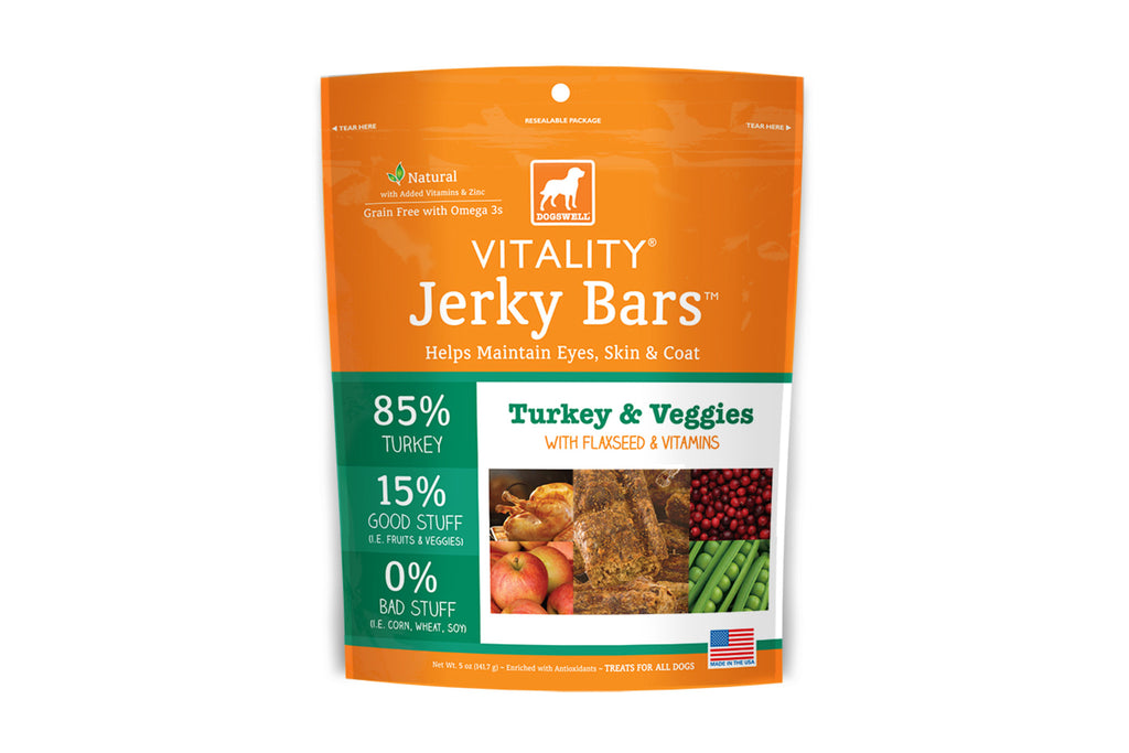 Vitality Jerky Bars Turkey & Veggies Dog Treats