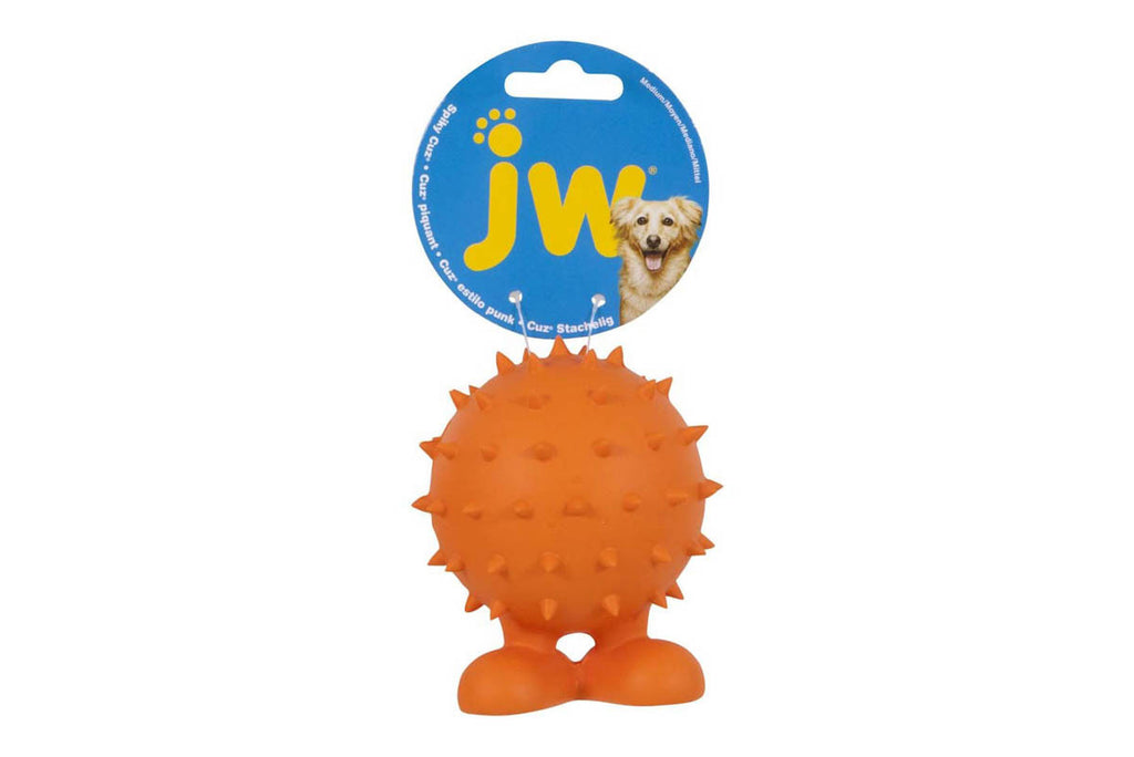 Spiky Cuz Dog Ball By Jw Pet Squeaky Bouncy Rubber Dog
