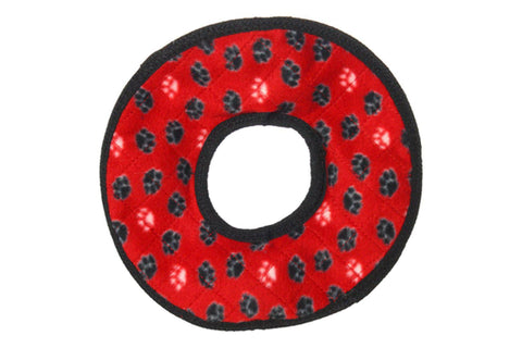 Tuffy No Stuff Ultimate Ring Dog Plush Toy in Red Paw Print
