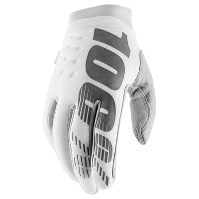 100% Brisker Motocross Gloves White/Silver