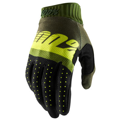 100% Ridefit Motocross Gloves Army Green/Fluro Lime/Fatigue
