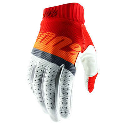100% Ridefit Motocross Gloves Red/Fluo Orange/Slate Blue