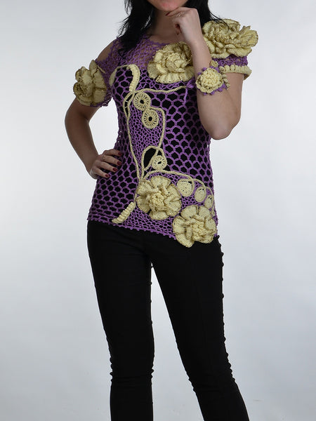 Cotton Blouse with 3D Flowers
