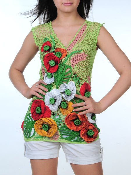 Cotton Blouse with 3D Poppies