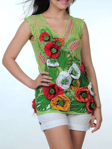 Buy Summer Blouse with 3D Poppies