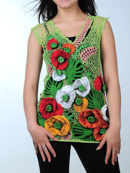 Cotton Tunic with 3D Poppies