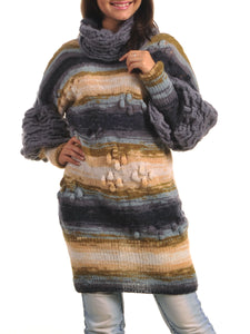 Sweater Dress with Puff Sleeve