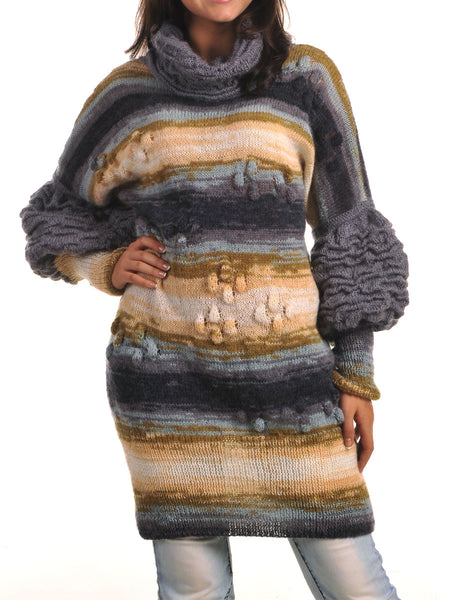 Shop Mohair Sweater Dress with Puff Sleeve