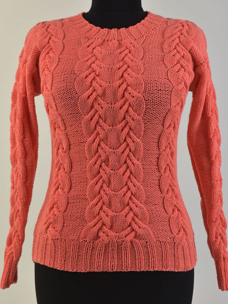 Cotton Sweater with Cables