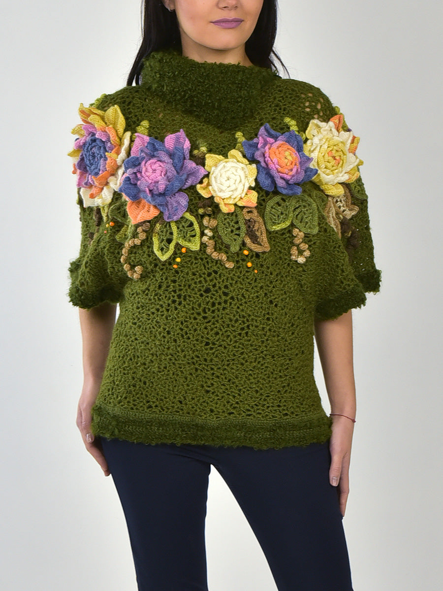Oversized Sweater with Big Flowers
