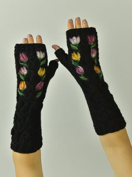 Wool Cable Fingerless Gloves