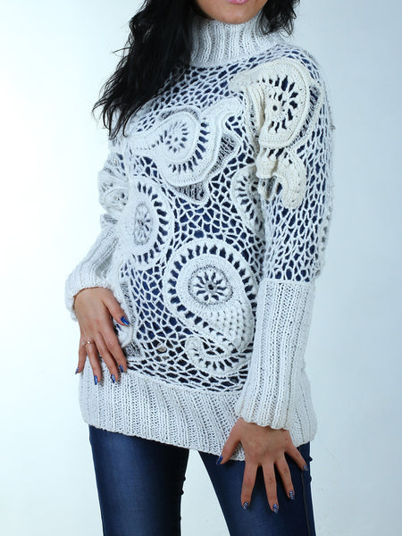 white sweater tunic