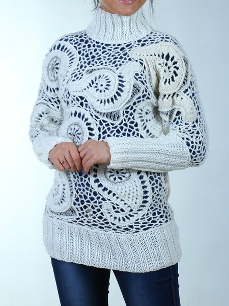 Irish Lace white sweater tunic