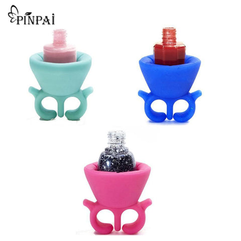 1Pcs Wearable Nail Polish Holder Silicone Finger Ring Drying Rack Organizer Nail Art Tools DIY Nail Oil Gel Manicure Stand