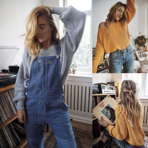 Sweater Shirt Women,Oversized Sweater Long Sleeve Women Knitwear Yellow Loose Sweater Female Pullover