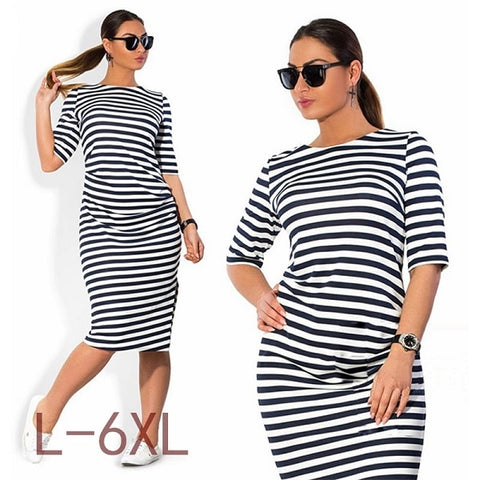 only for modern women ,dress Big Size Black White Striped Dress Straight Dresses Plus Size Women Clothing Vestido