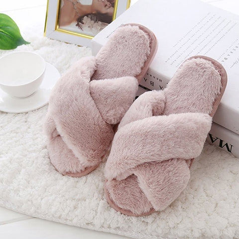 Shoes Flat Sweet Home Slippers Woman Indoor Shoes Fur Warm Soft Slip On Black Pink Grey Female Slipper DE