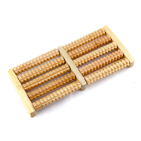 Wooden foot massager high quality wooden five row stress relieving treatment relaxing massage roller health massage tool, free shipping