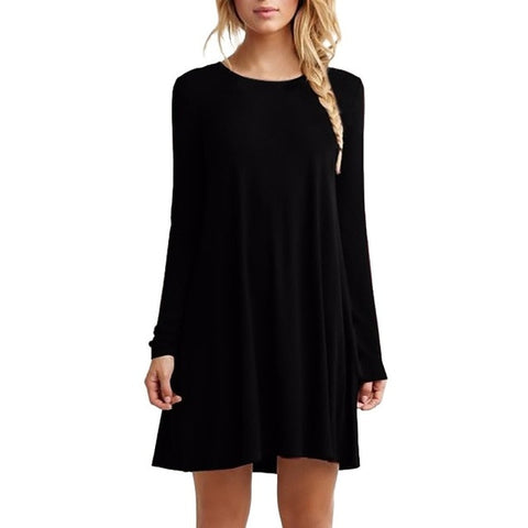 Women Long Sleeve Casual Loose Black Dress  Sexy Pleated Mini Party Dresses