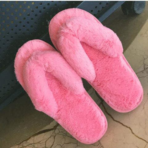 Creative Women Casual Imitation Fur Plush House Spa Flip Flops Slippers home shoes home slippers very comfortable and warm