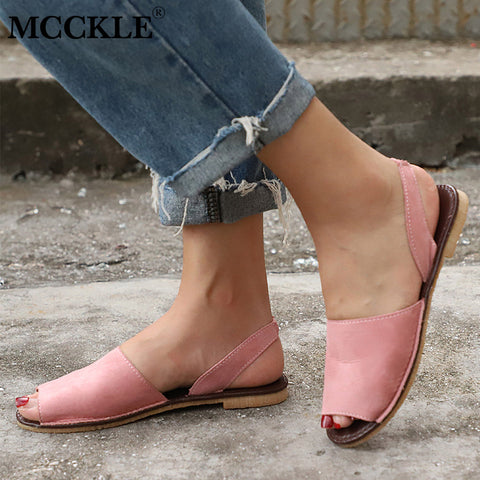Sandals Women Plus Size Flats Female Casual Peep Toe Shoes Faux Suede Slip On Elastic Band Leisure Solid Footwear