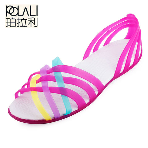 POLALI Women Sandals  New Candy Color Peep Toe Beach Valentine Rainbow Jelly Shoes Woman Wedges Sandals