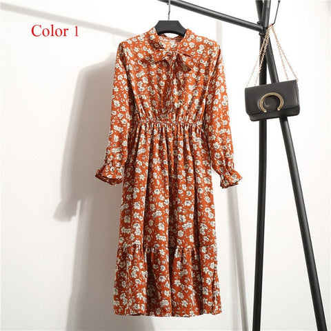 Chiffon High Elastic Waist Party Dress Bow A-line Women Full Sleeve Flower Print Floral.