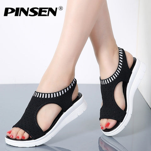 New Female Shoes Woman Summer Wedge Comfortable Sandals Ladies Slip-on Flat Sandals.