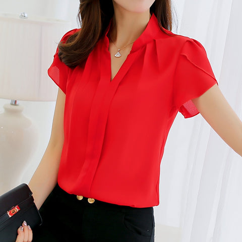 Summer Women Chiffon Blouse Short Sleeve Red Ladies Office Ladies Shirts.