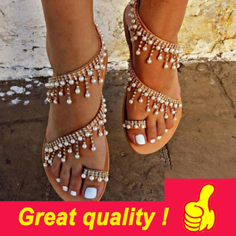 Women sandals summer shoes flat pearl sandals comfortable string bead slippers women casual sandals.
