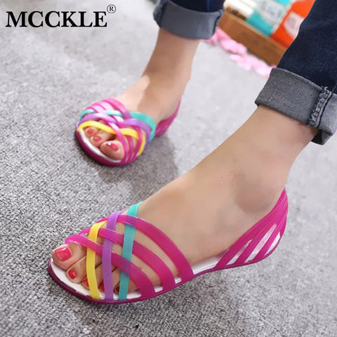 Women Jelly Shoes Rianbow Summer Sandals Female Flat Shoe Casual Ladies Slip On Woman Candy Color  Peep Toe Beach Shoes