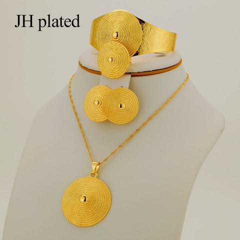 JHplated Gift  African Jewelry Set  Woman Fashion Dubai Gold Color Jewelry Set French Jewelry Set