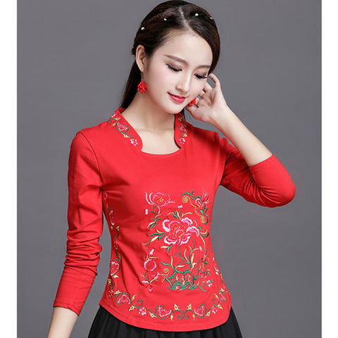 Embroidery Chinese Stlye Plus Size Blusa Feminina Summer.
