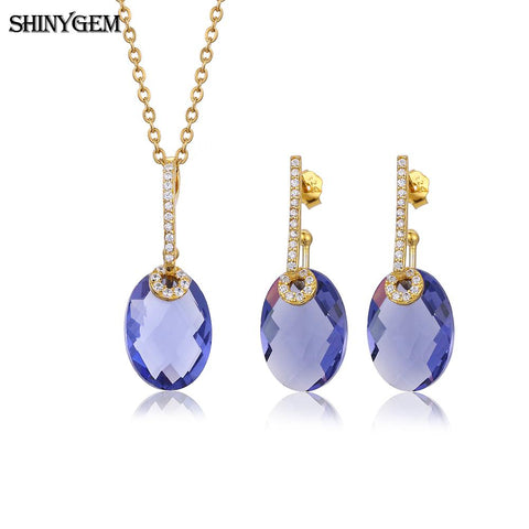 ShinyGem Cute Oval Purple Blue Crystal Jewelry Set Gold Color Sterling Silver Gem Stone Necklace Earrings Jewelry Sets For Women