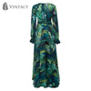 Vintacy Long Sleeve Dress Green Tropical Beach Vintage Maxi Dresses Boho Casual V.