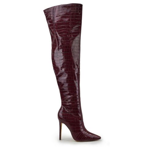 THIGH HIGH CROC LEATHER BOOTS