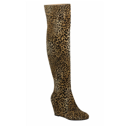 LEOPARD KNEE HIGH WEDGES