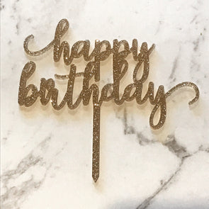 Gold Glitter Happy Birthday Cake Topper Small