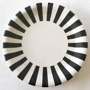 Black and white stripe party plates
