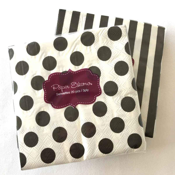 Black and white party serviettes with stripes and dots