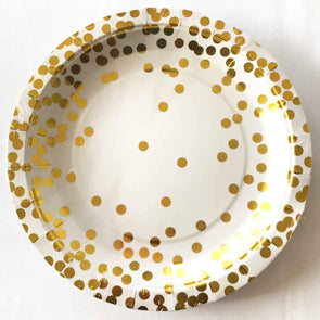 Confetti and gold paper party plates