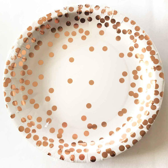 Confetti and rose gold paper party plates