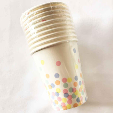 Confetti coloured paper party cups