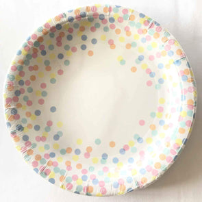 Confetti coloured paper party plates