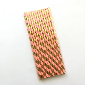 Coral and Gold Foil Stripe Paper Straws 25pk