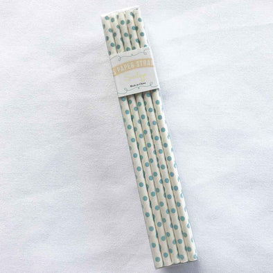 Fine Dot Pale Blue Paper Straws